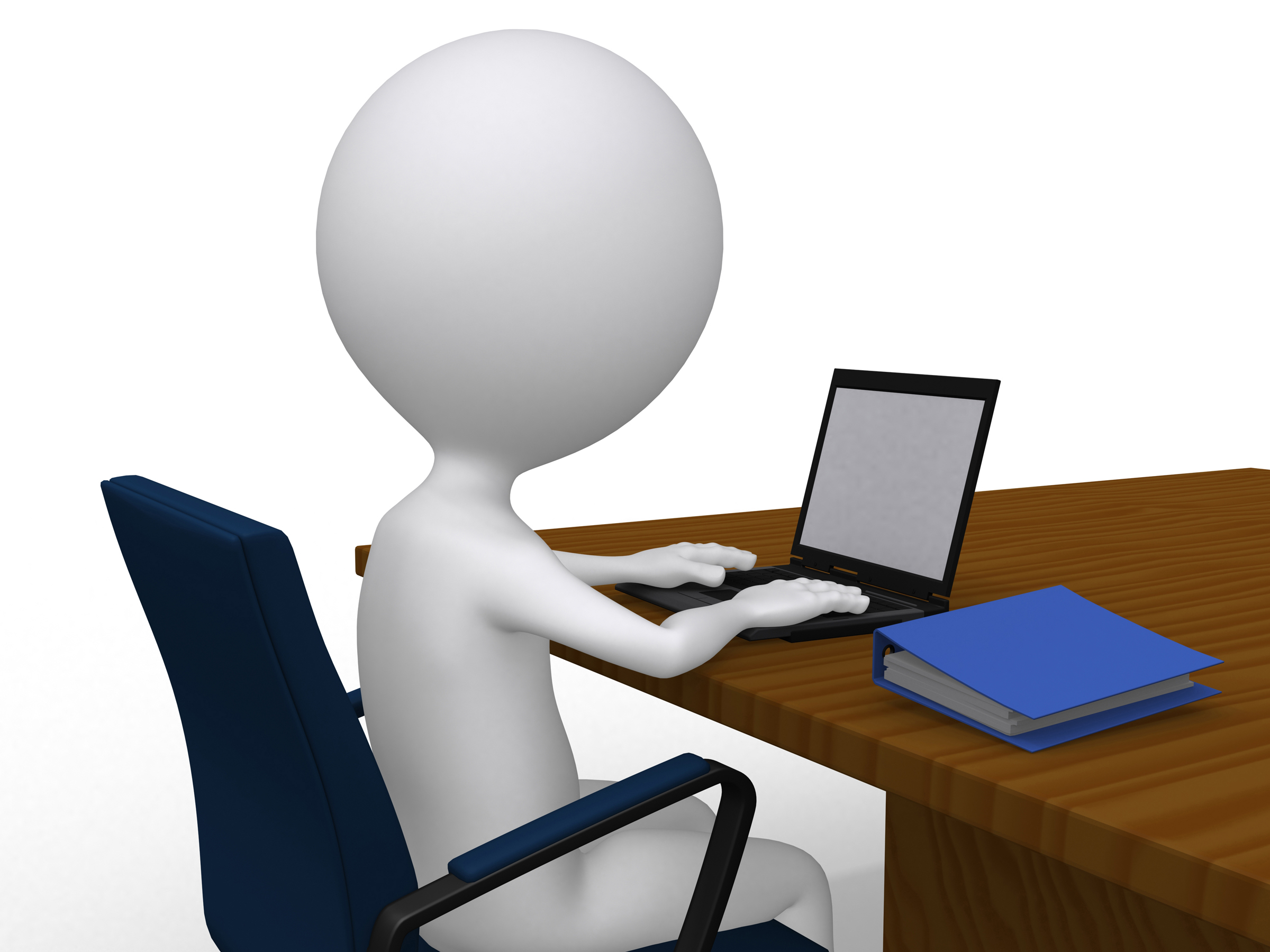 considering an online career try this hidden career path 3d business man on his desk laptop