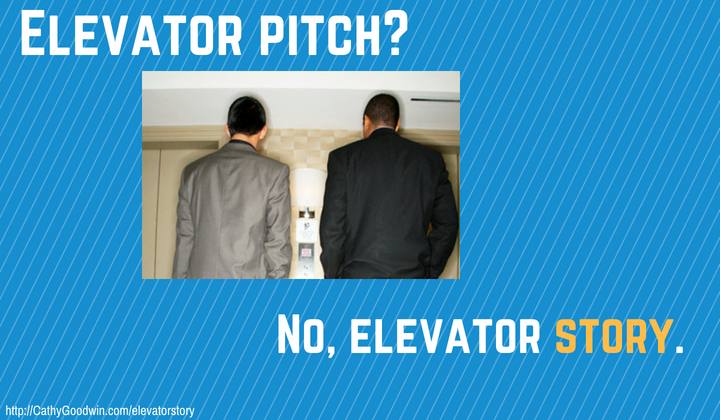 replace elevator speech or elevator pitch with a story related to your small business